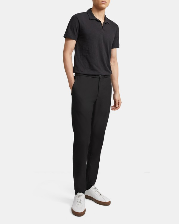 띠어리 맨 오픈 카라 폴로 셔츠 - 블랙 Theory Cotton Open Collar Polo
