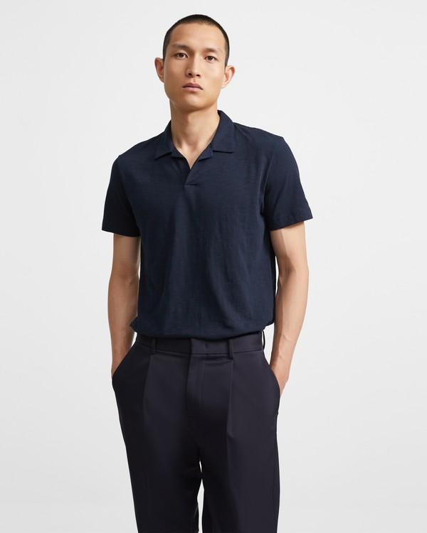 띠어리 맨 오픈 카라 폴로 셔츠 - 이클립스 Theory Cotton Open Collar Polo