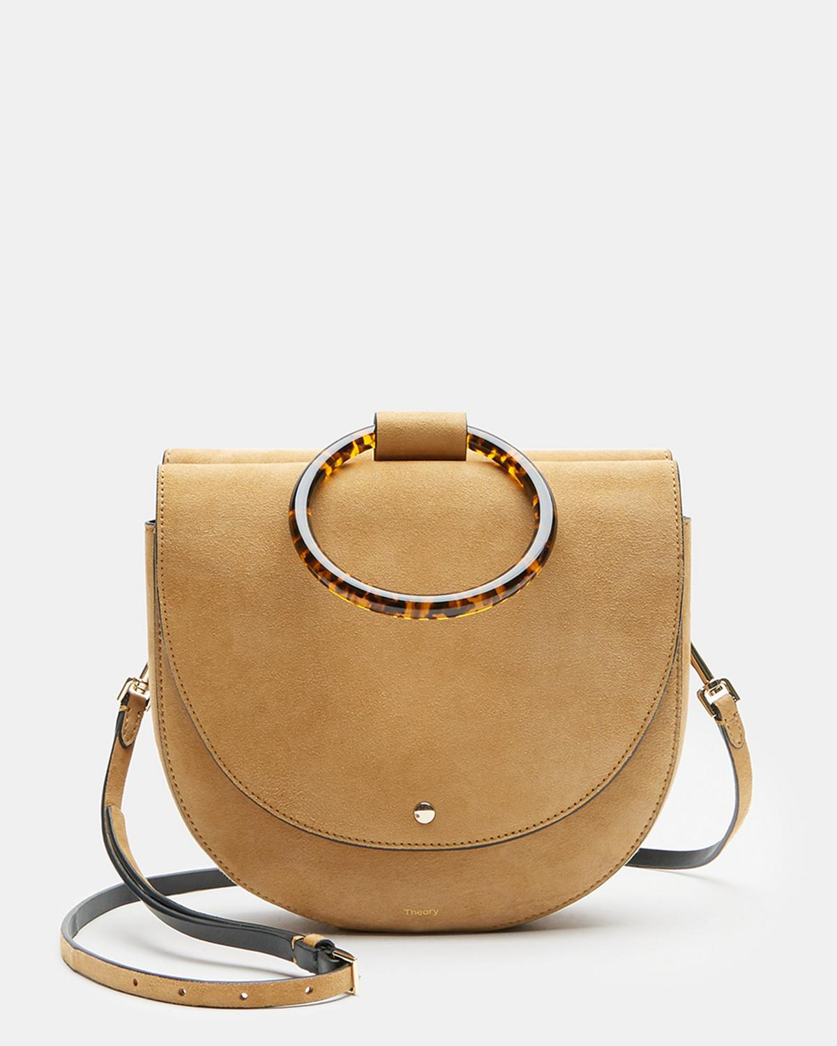 Large Whitney Bag With Resin Hoop in Suede
