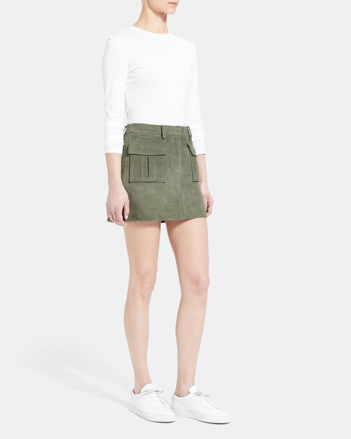 Utility Skirt in Suede