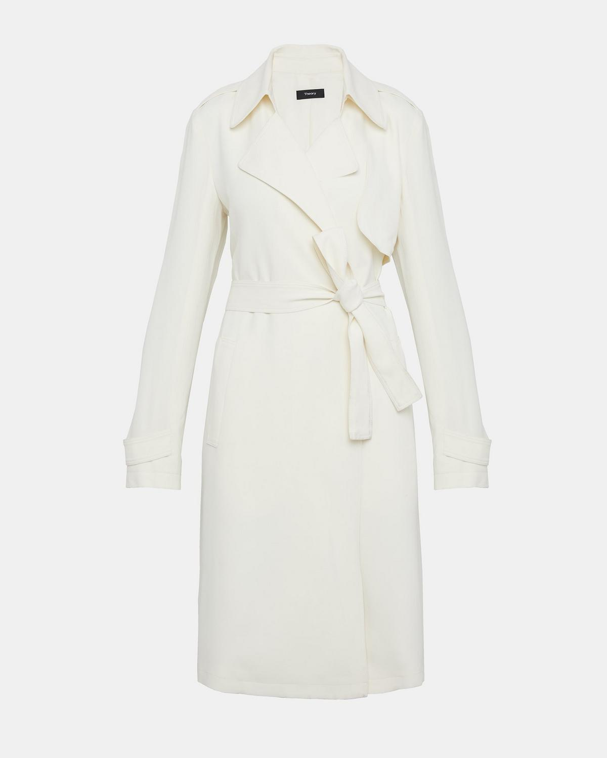 95ab7875128 Crepe Belted Trench Coat   Theory