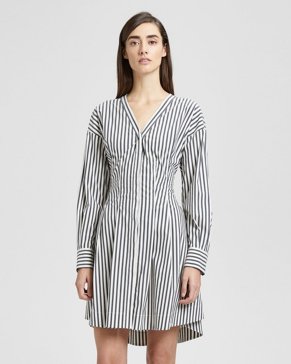 Striped Darted Button-Down Dress