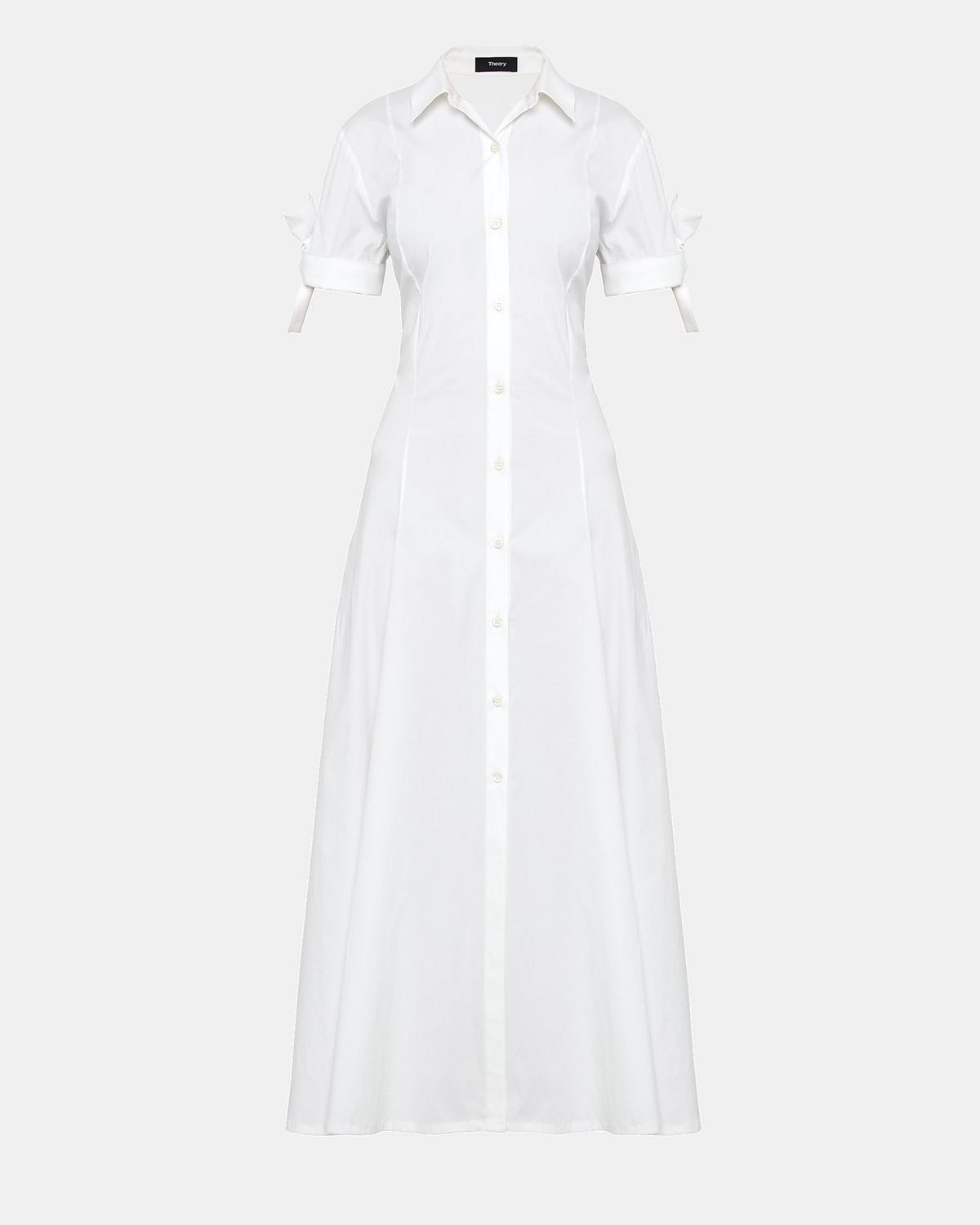 Stretch Cotton Tie Sleeve Shirt Dress Theory