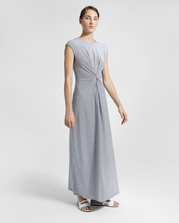 Striped Knot Front Midi Dress | Theory