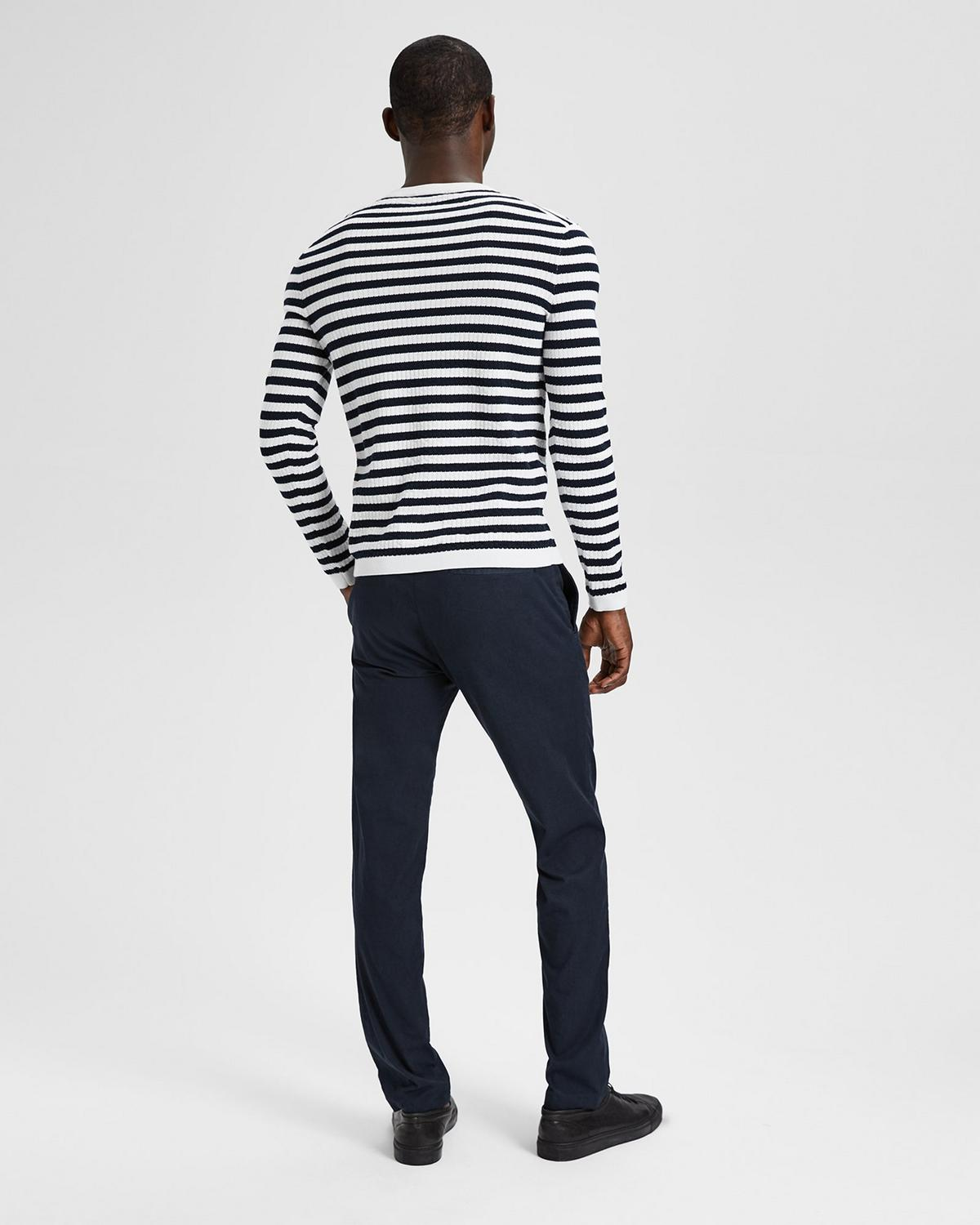 Cotton Textured Stripe Crewneck