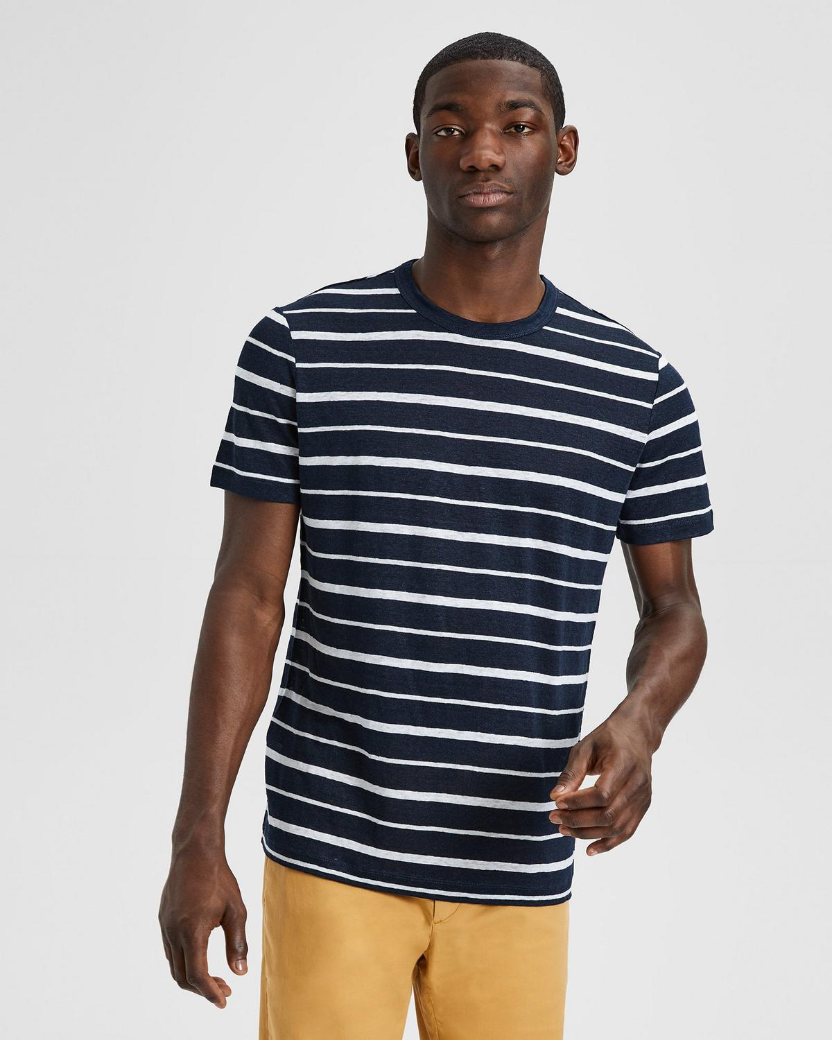 Essential Tee in Striped Linen