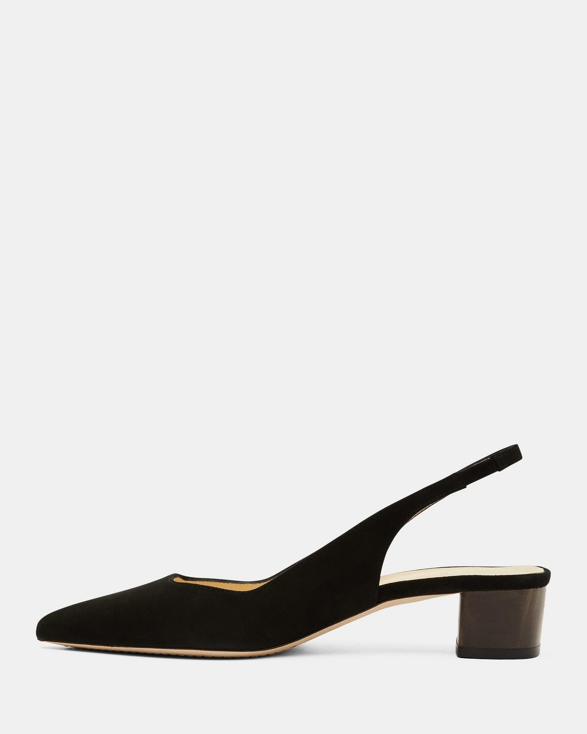 Block Slingback Pump in Suede