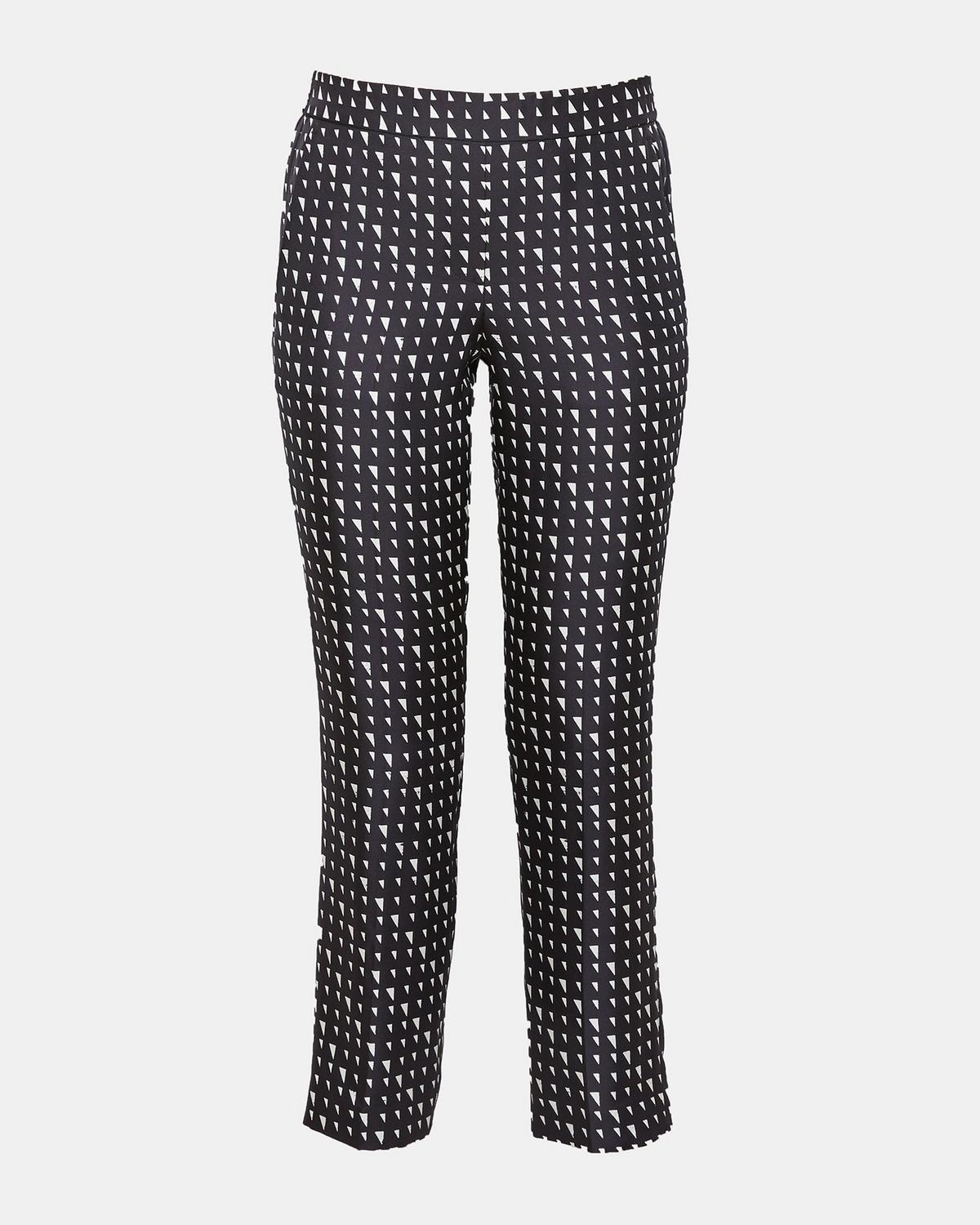 Silk Triangle Print Pull-On Trouser