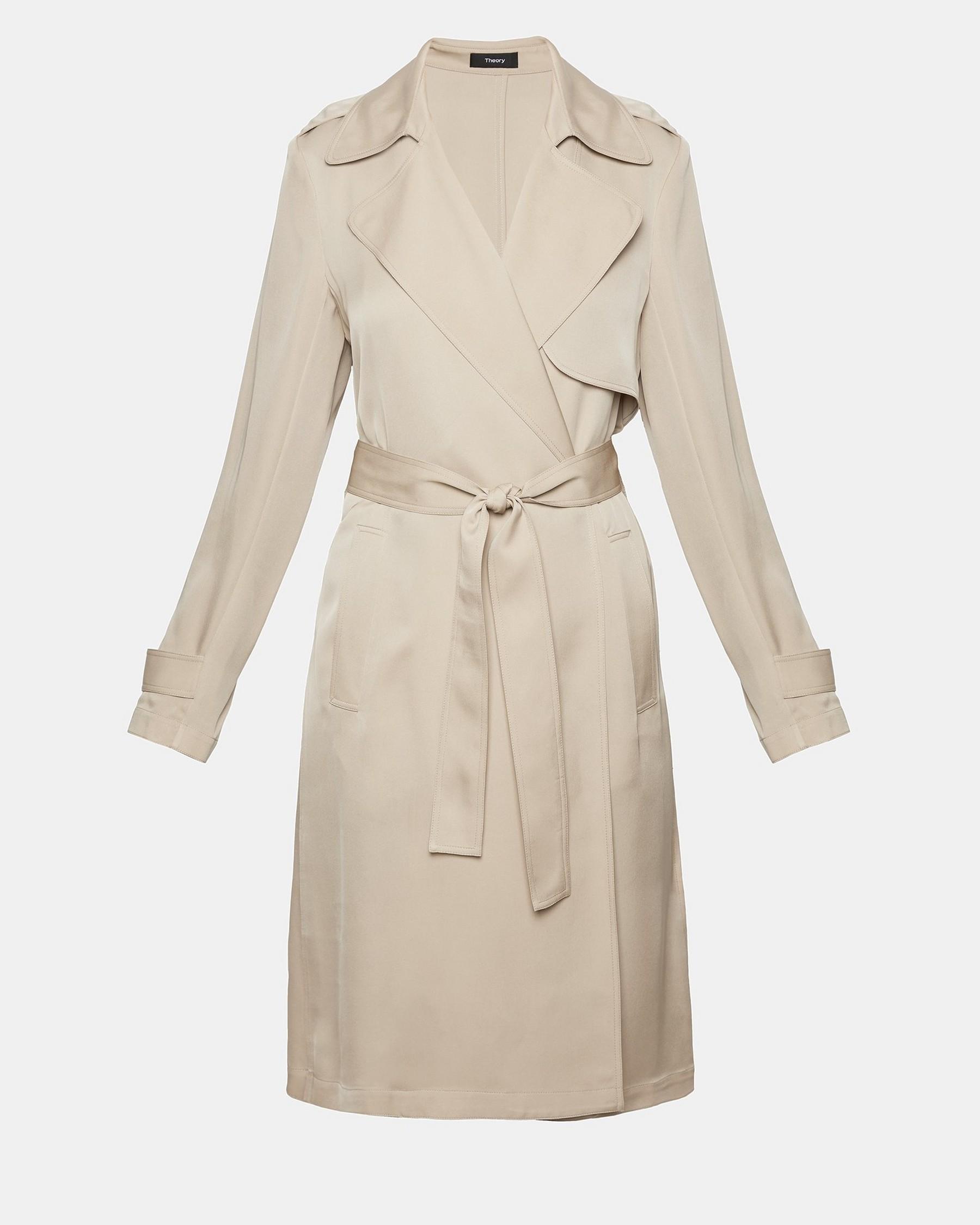 1976f98cbd9 Shoptagr | Silk Trench Coat by Theory
