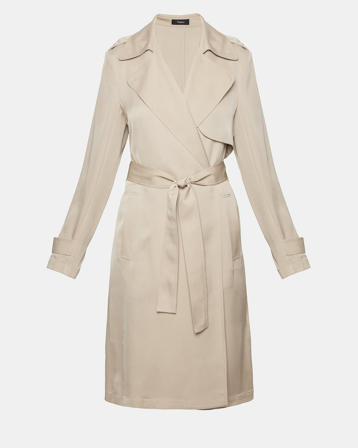 Theory Belted Knee-Length Trench Coat Discount Authentic Cheap Price Cost wKpp3xq
