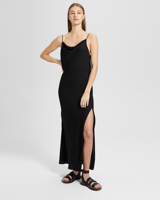 005055a8ea05 Silk Draped Back Maxi Dress   Theory