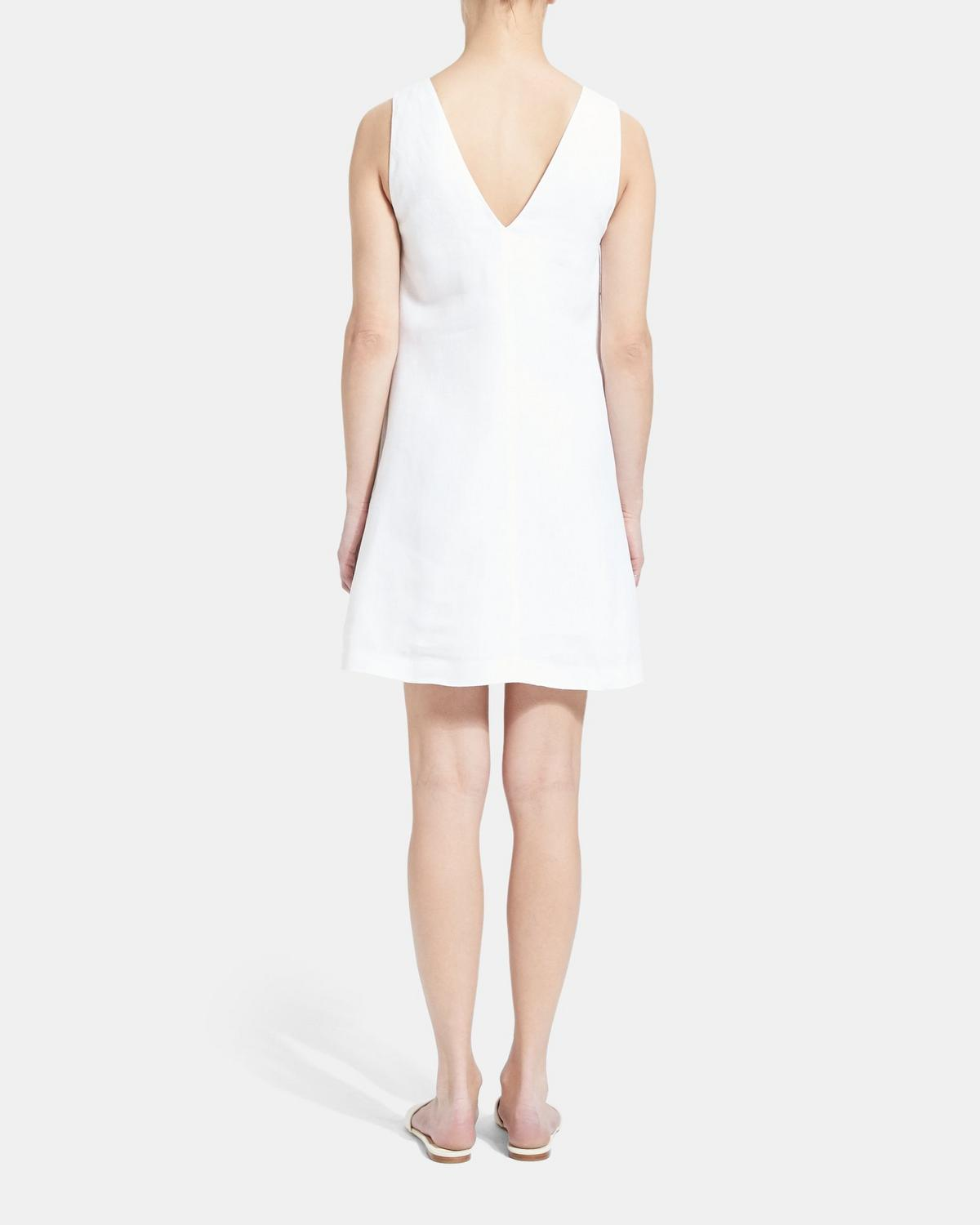 Linen V Shift Dress