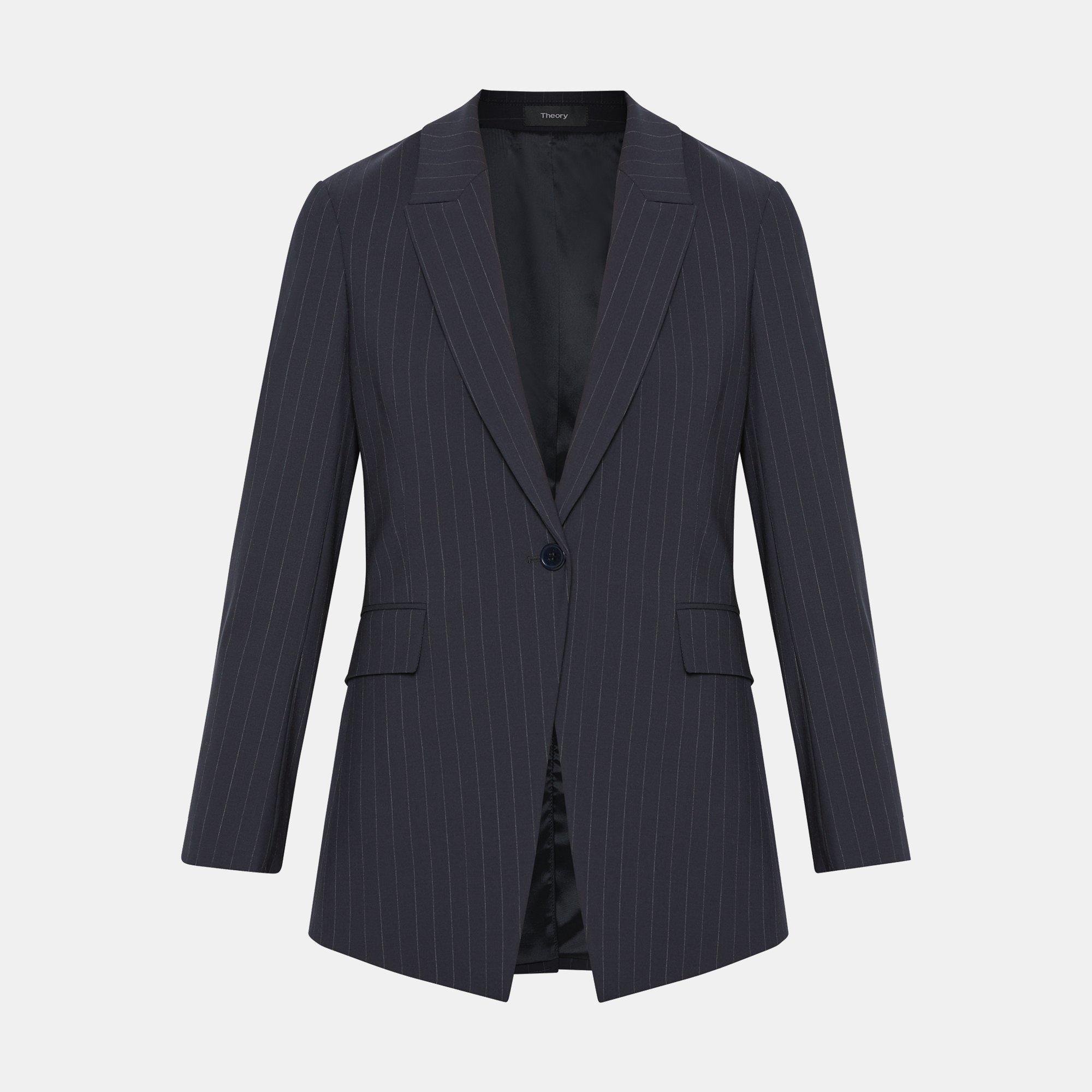 1800deab7f Good Wool Pinstripe Long Blazer | Theory
