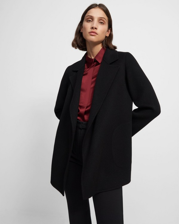 띠어리 Theory Clairene Jacket in Double-Face Wool-Cashmere,BLACK