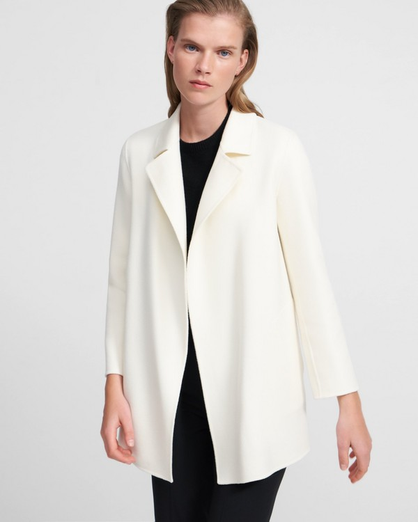 띠어리 Theory Clairene Jacket in Double-Face Wool-Cashmere,IVORY