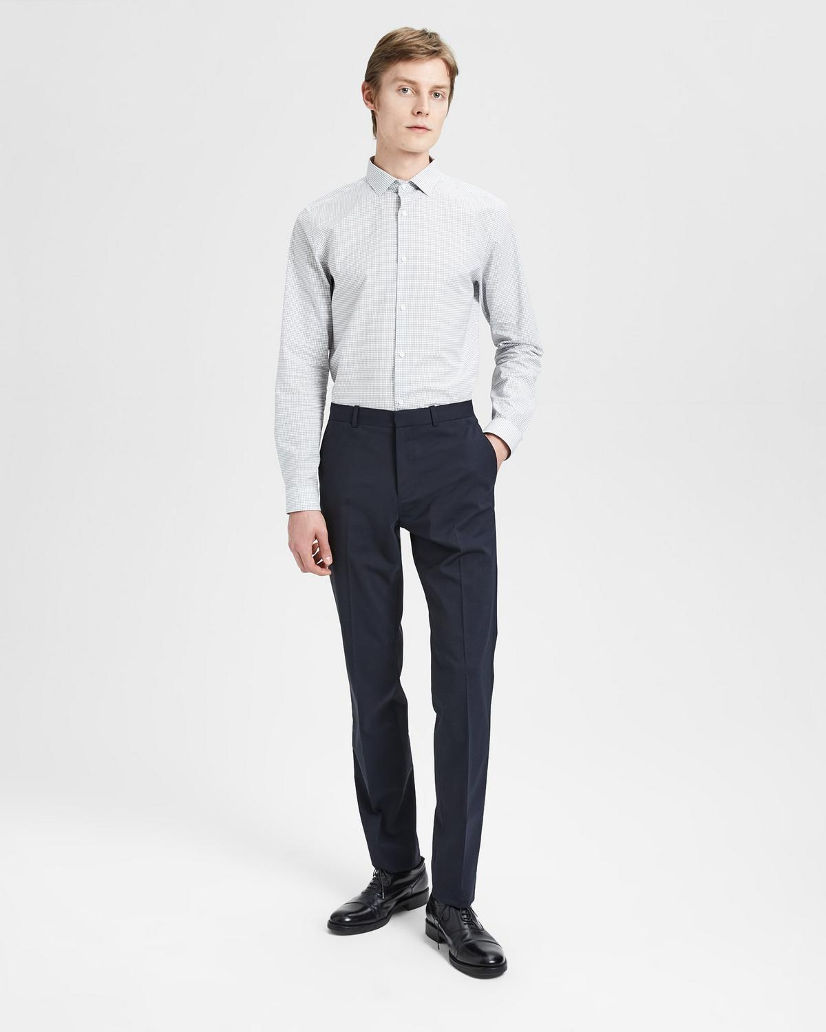 Cotton Check Slim-Fit Shirt With Spread Collar