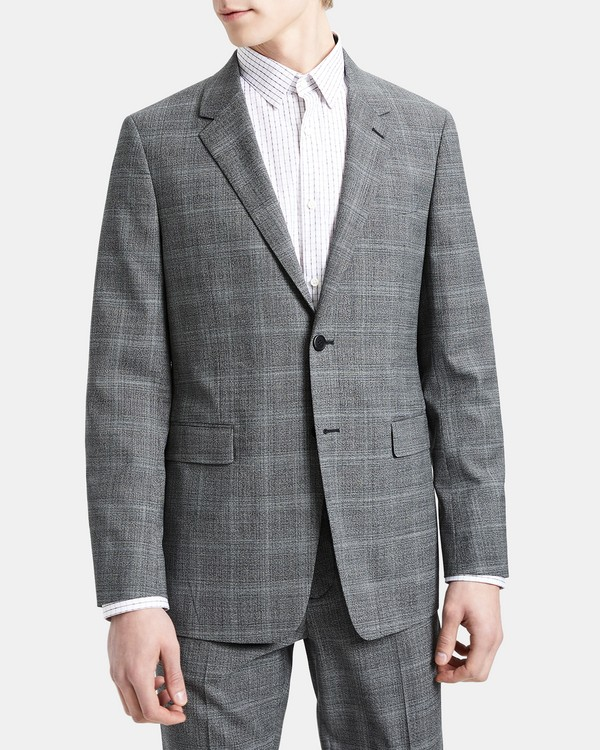 Theory Structured Jacket in Wool Plaid