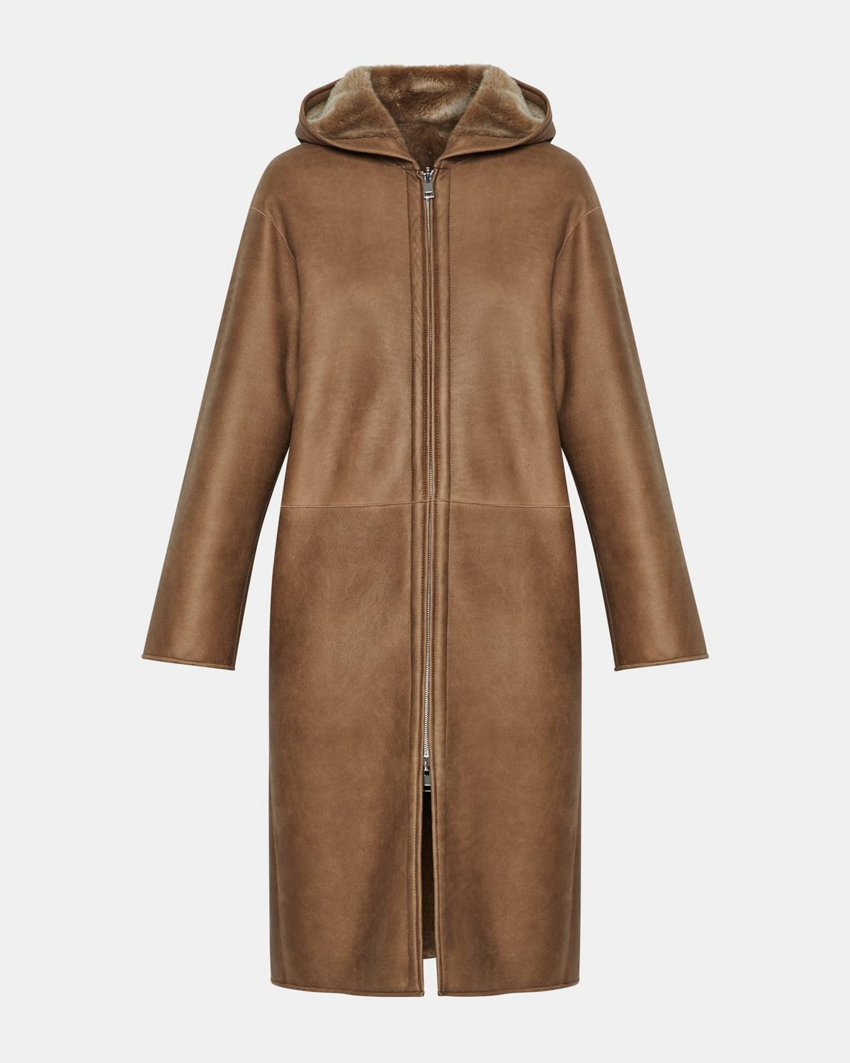 Reversible Silky Shearling Hooded Coat