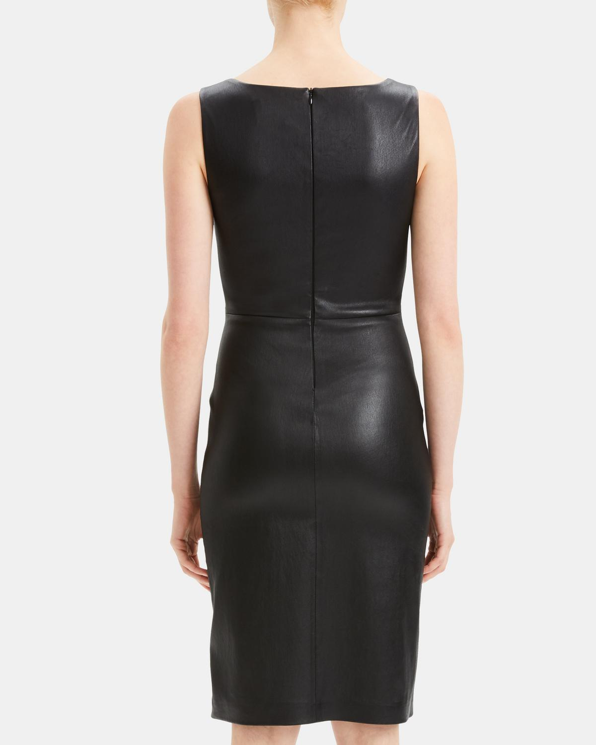 Leather Fitted Midi Dress