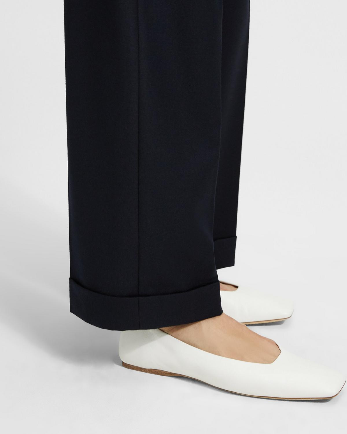 Sleek Flannel Straight Cuff Trouser