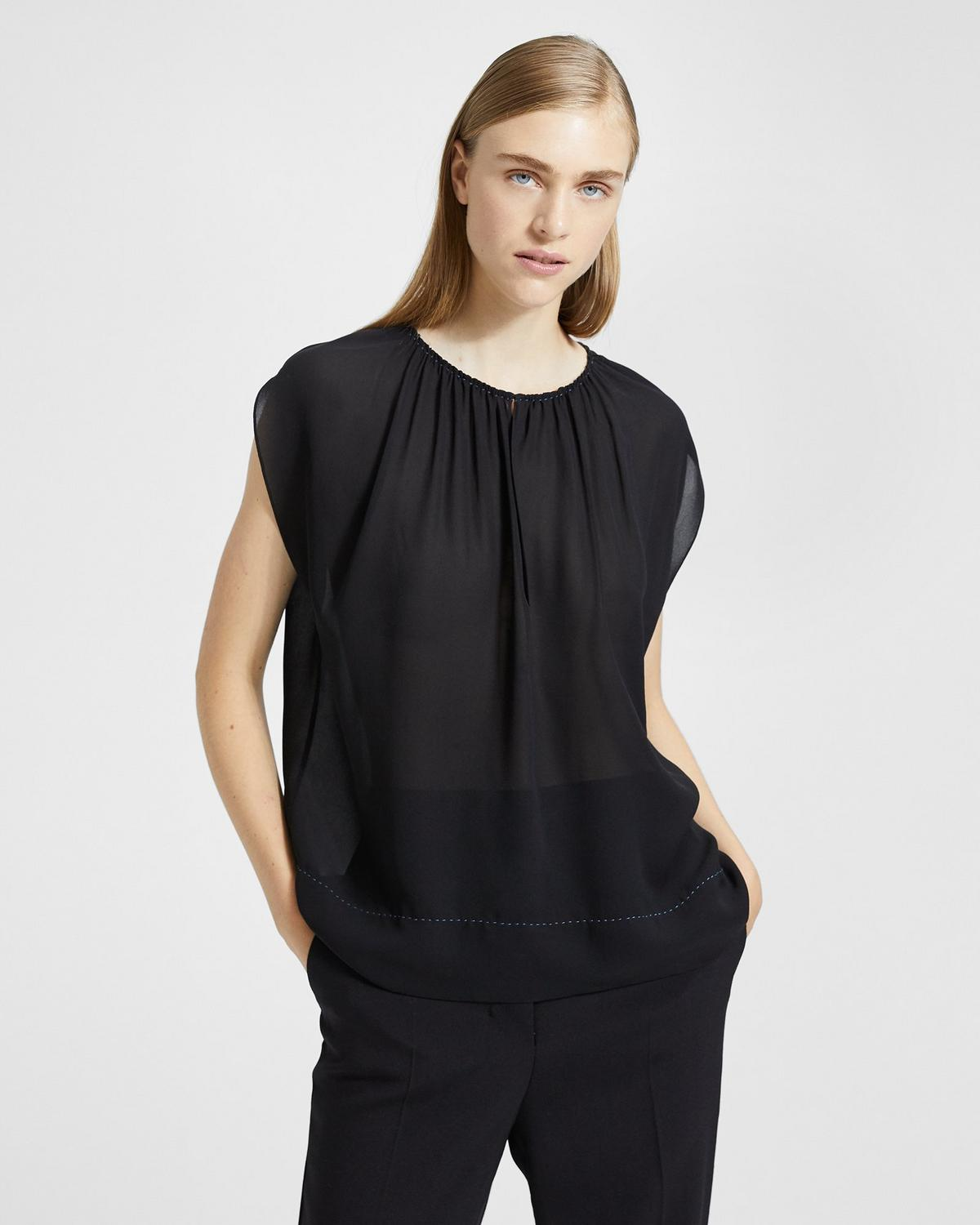 Silk Gathered Slit Neck Short-Sleeve Top