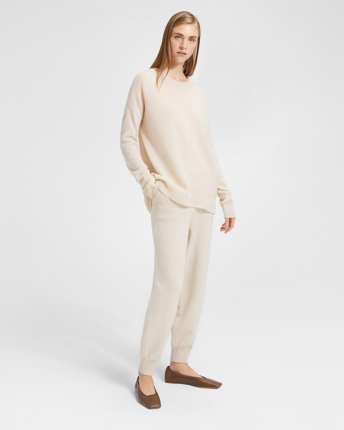 Wool-Cashmere Relaxed Track Trouser