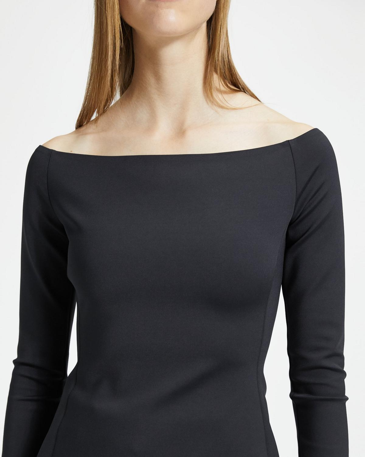 Mod Knit Off-The-Shoulder Fitted Top