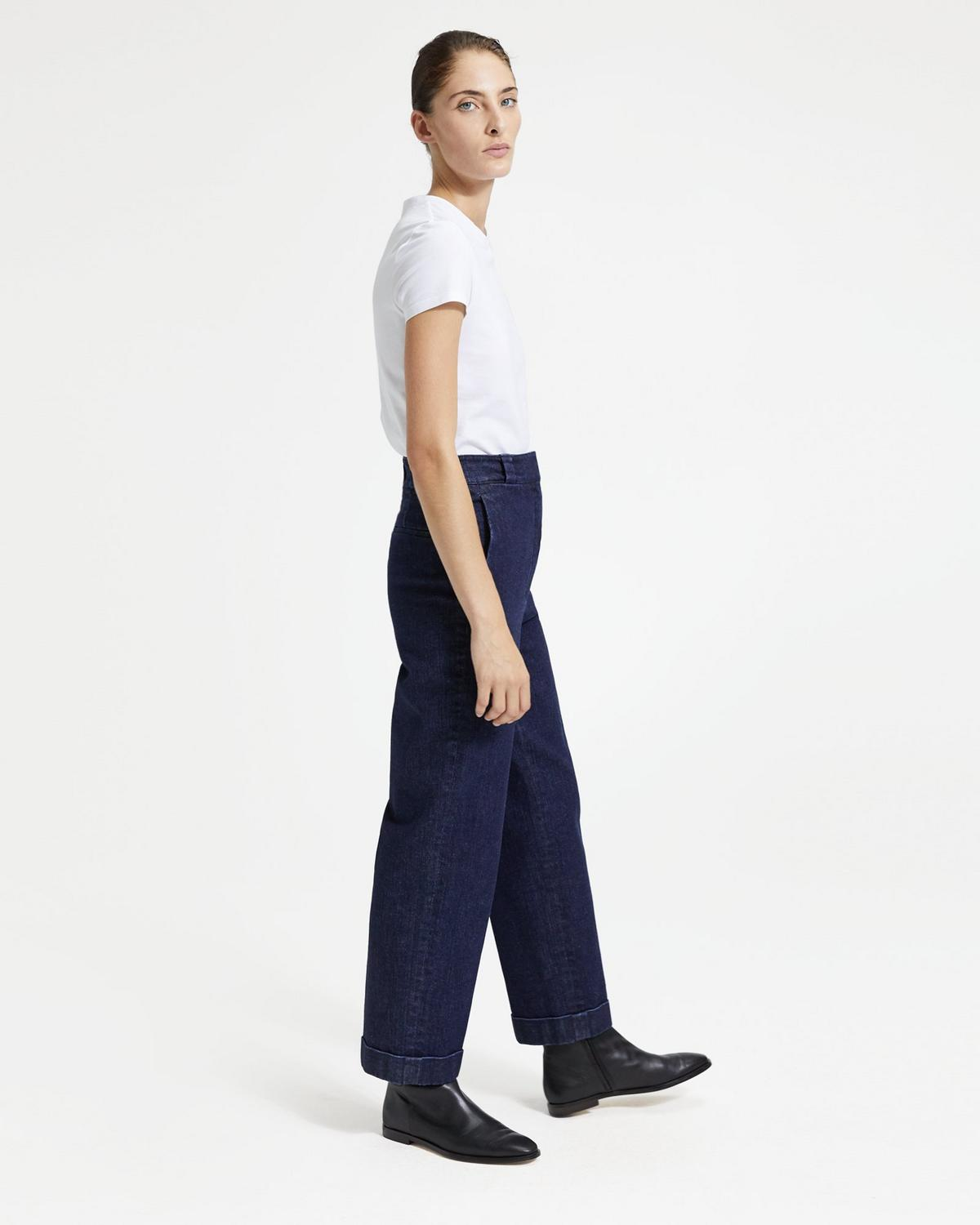 Structured Denim Straight Cuff Pant
