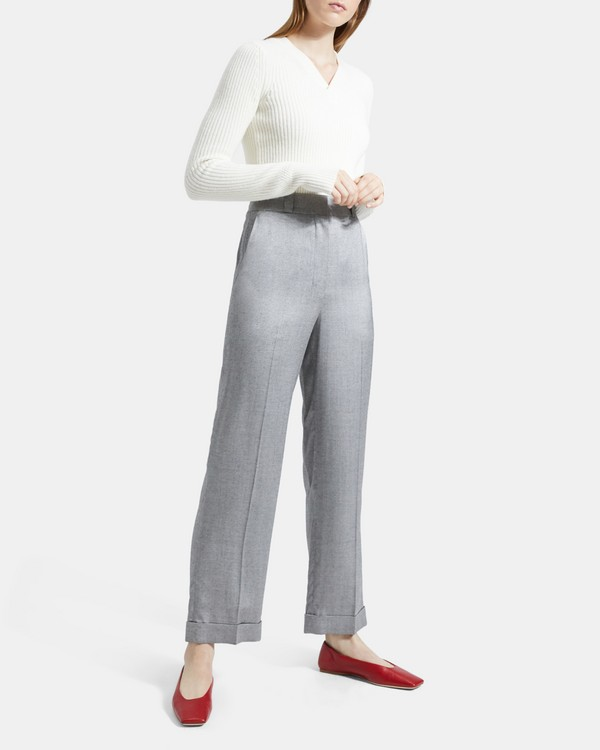 Straight Cuff Pant in Mélange Twill