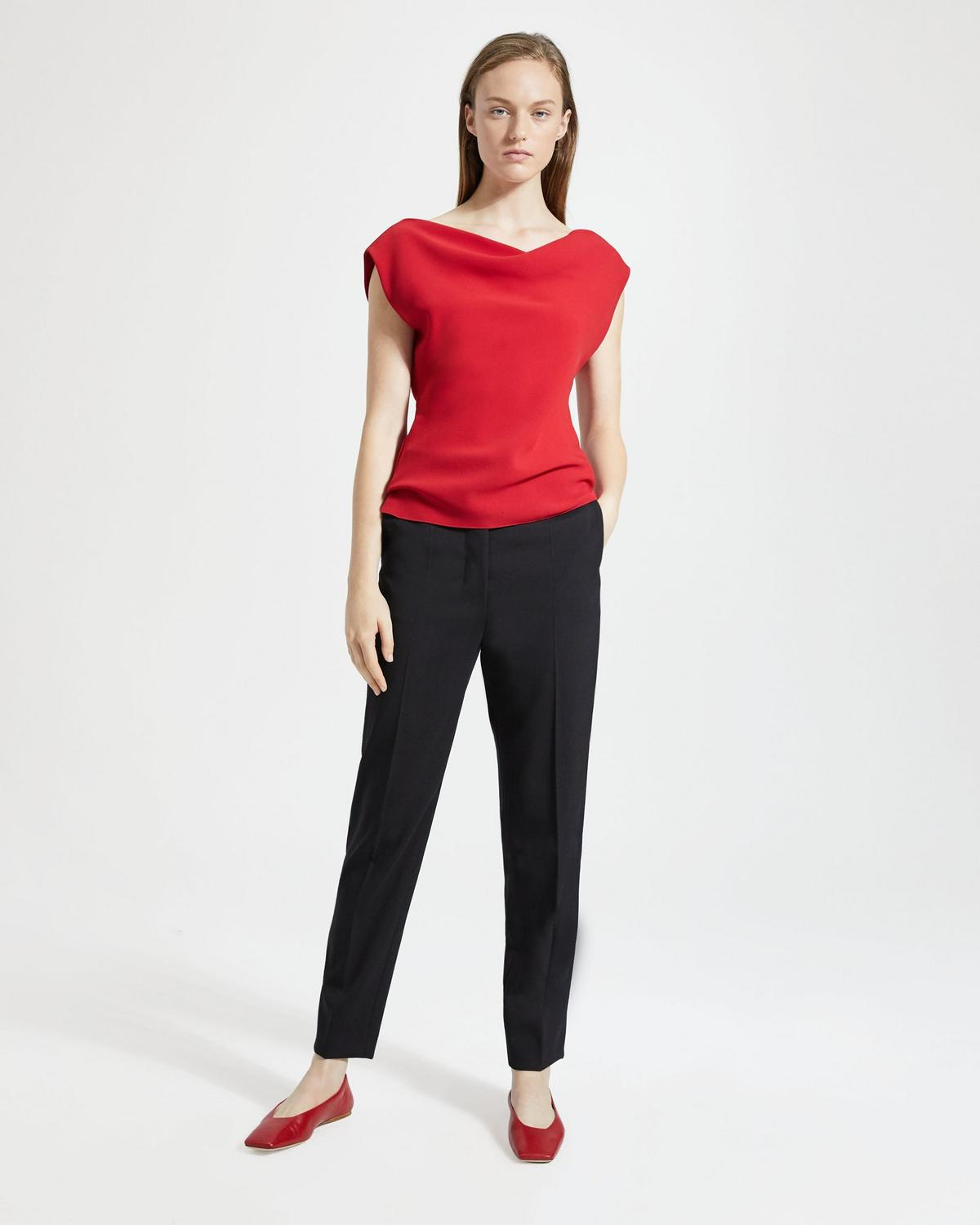 c578701124 Classic Crepe Draped Boatneck Top | Theory