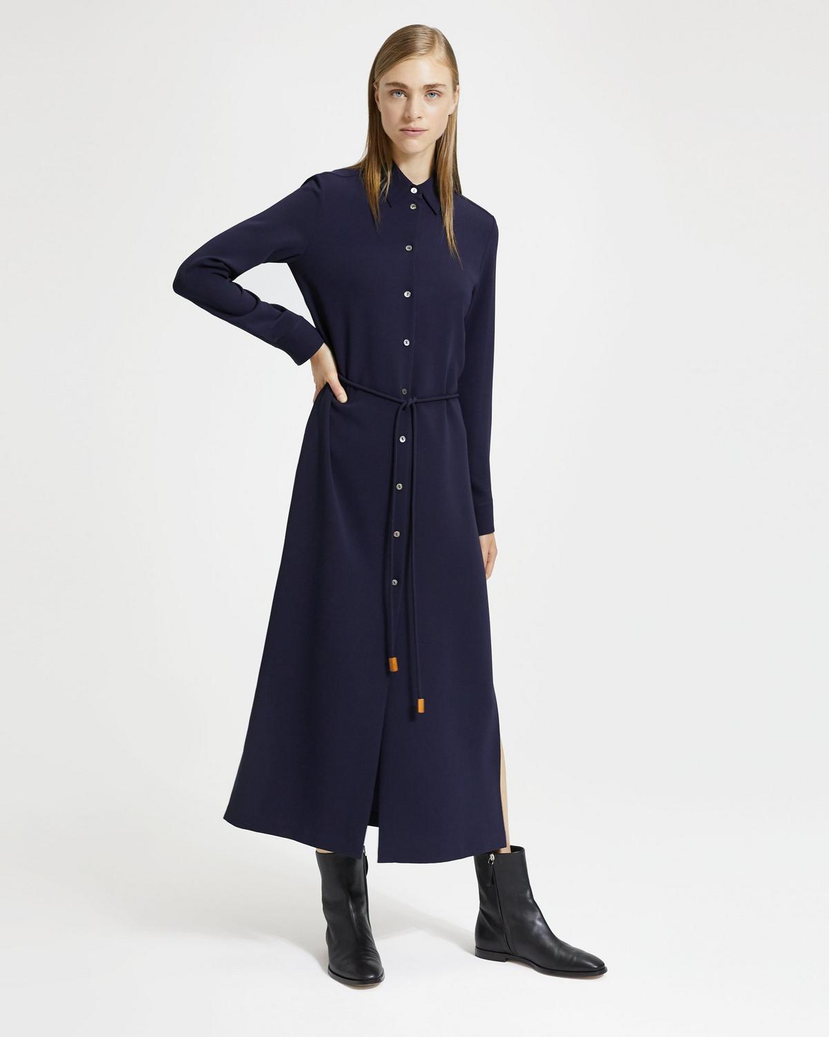 Classic Crepe Belted Shirtdress