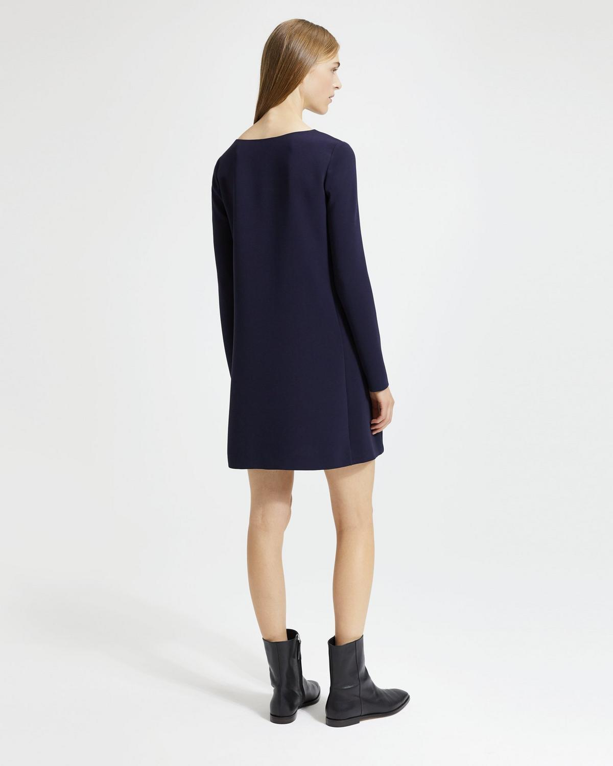 Long-Sleeved Paneled Shift Dress