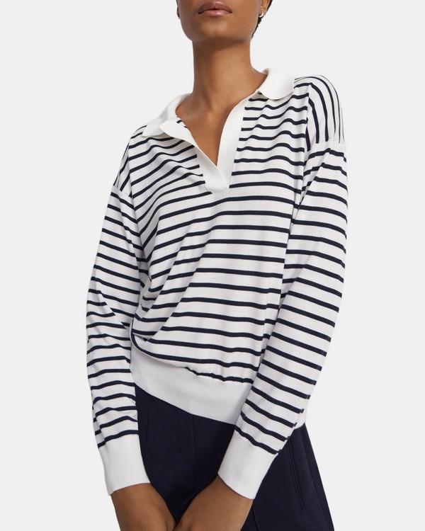 띠어리 Theory Striped Sweater Polo in Wool-Silk,IVORY/DEEP NAVY