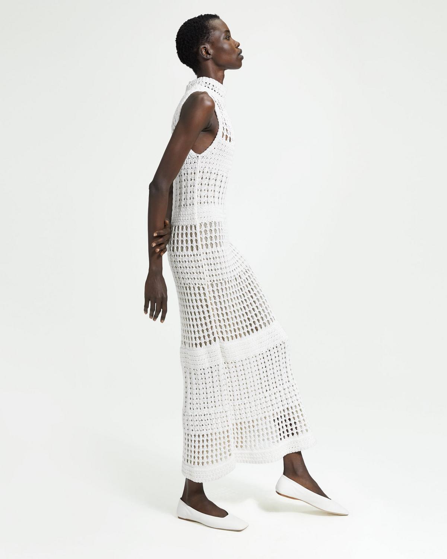 63c3113a002 Mixed Crochet Sweater Dress