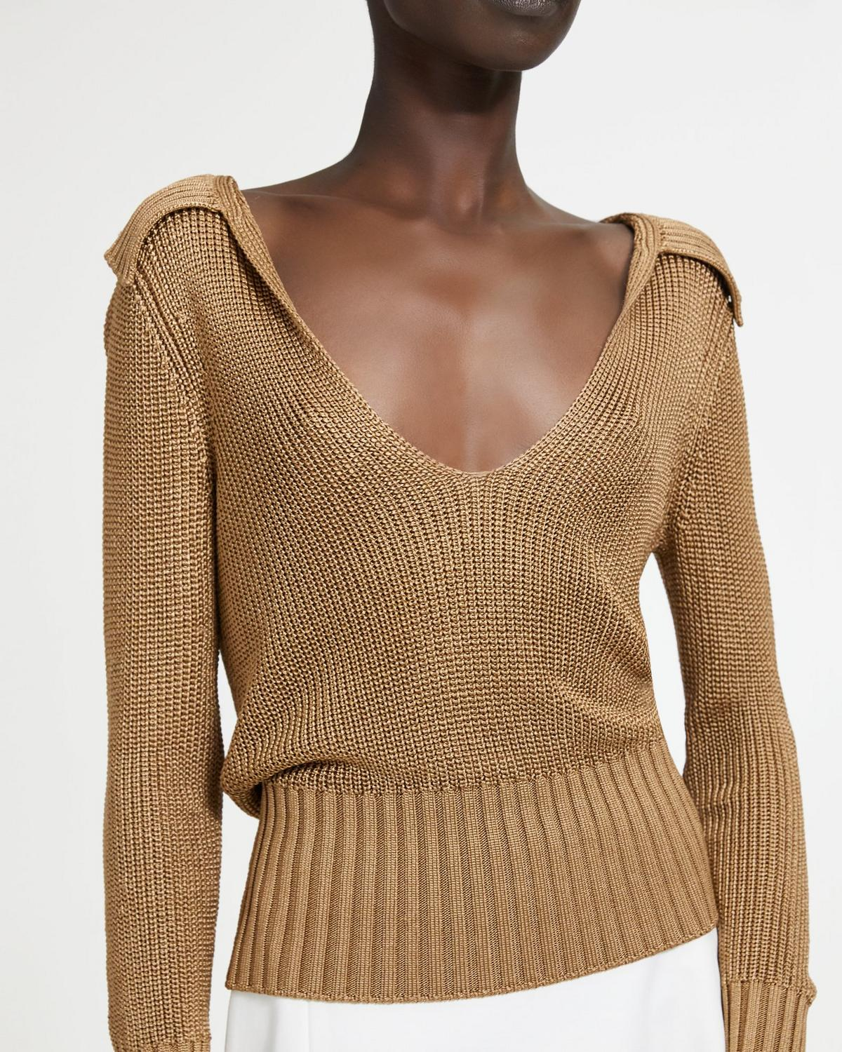 Draped Collar V-Neck Sweater
