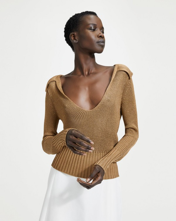 2929b831a1 Draped Collar V-Neck Sweater