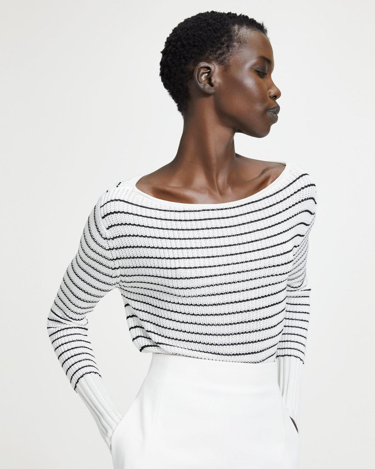 Striped Viscose Boatneck Sweater