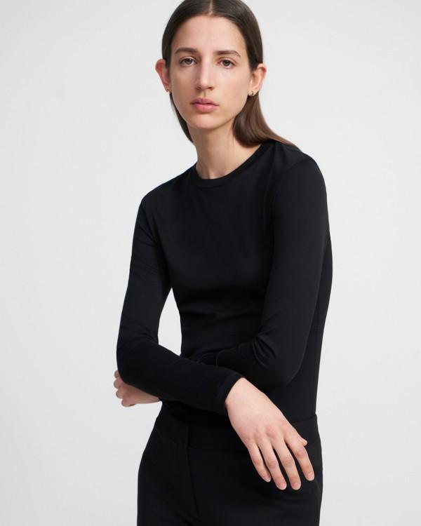 띠어리 긴발 티셔츠 Theory Tiny Long-Sleeve Tee in Cotton,BLACK