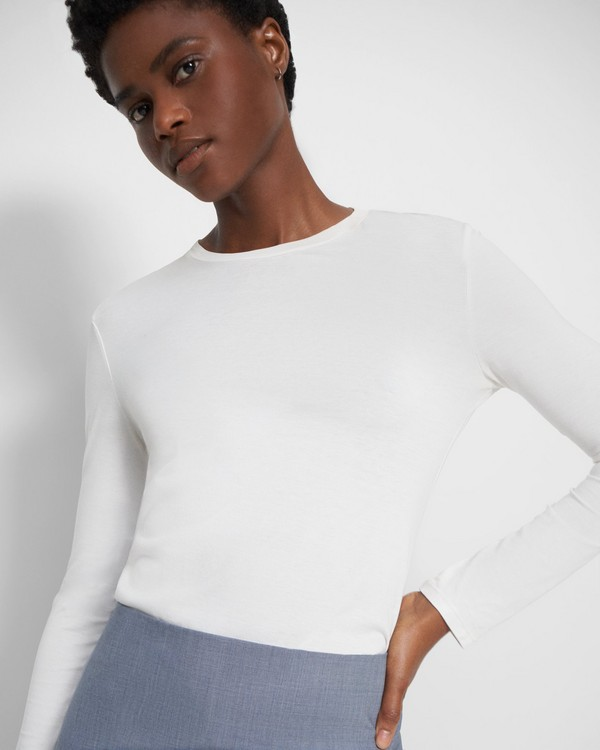 띠어리 티셔츠 Theory Tiny Long-Sleeve Tee in Cotton