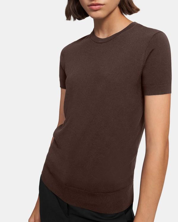띠어리 Theory Basic Sweater Tee in Regal Wool,WALNUT