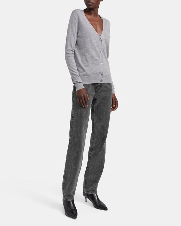 띠어리 Theory V-Neck Cardigan in Regal Wool,COOL HEATHER GREY
