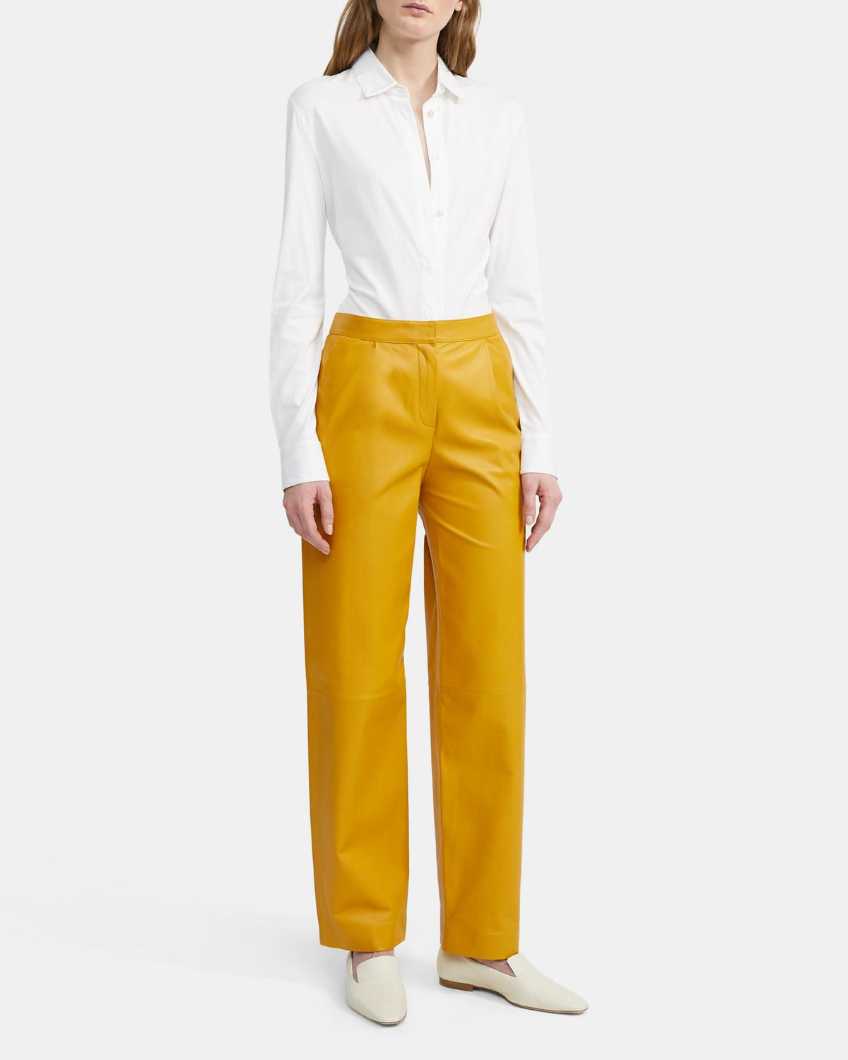 Feather Nappa Leather Pleated Pant
