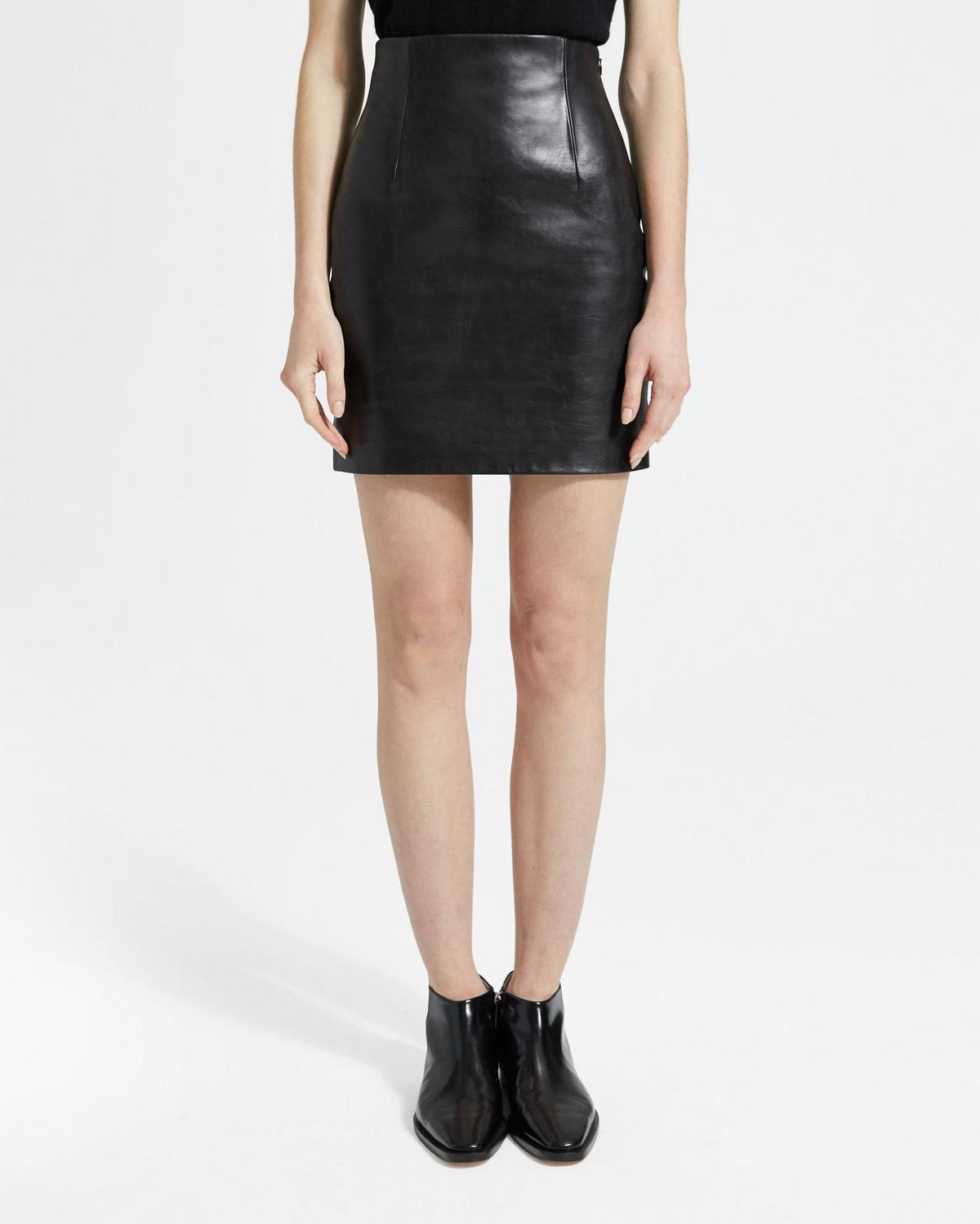 Wax Leather Mini Skirt