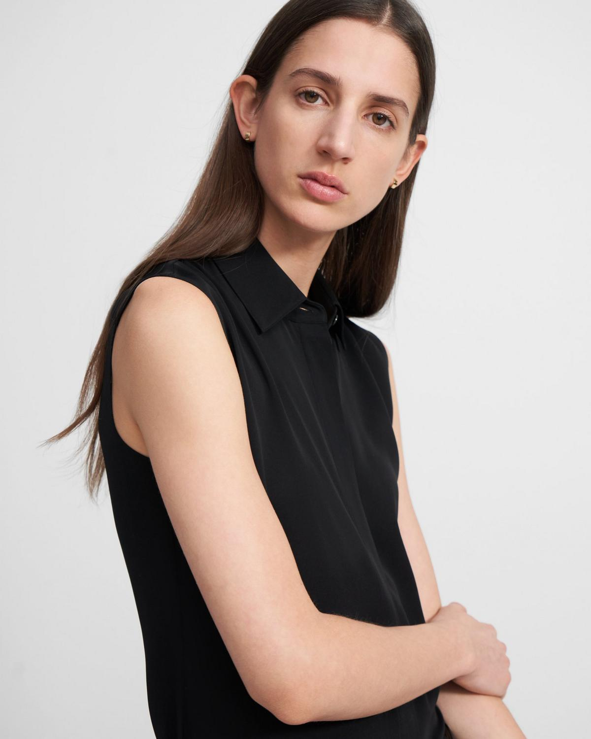 Fitted Sleeveless Shirt in Stretch Silk
