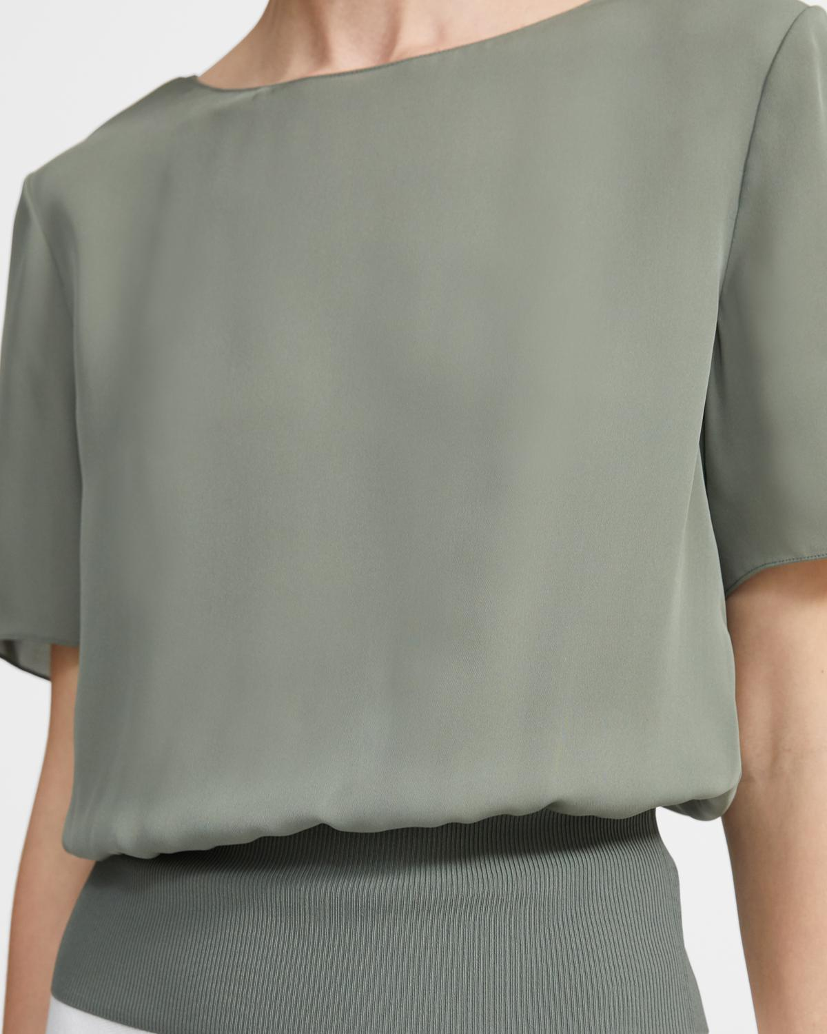 Silk Combo Ribbed-Waist Top