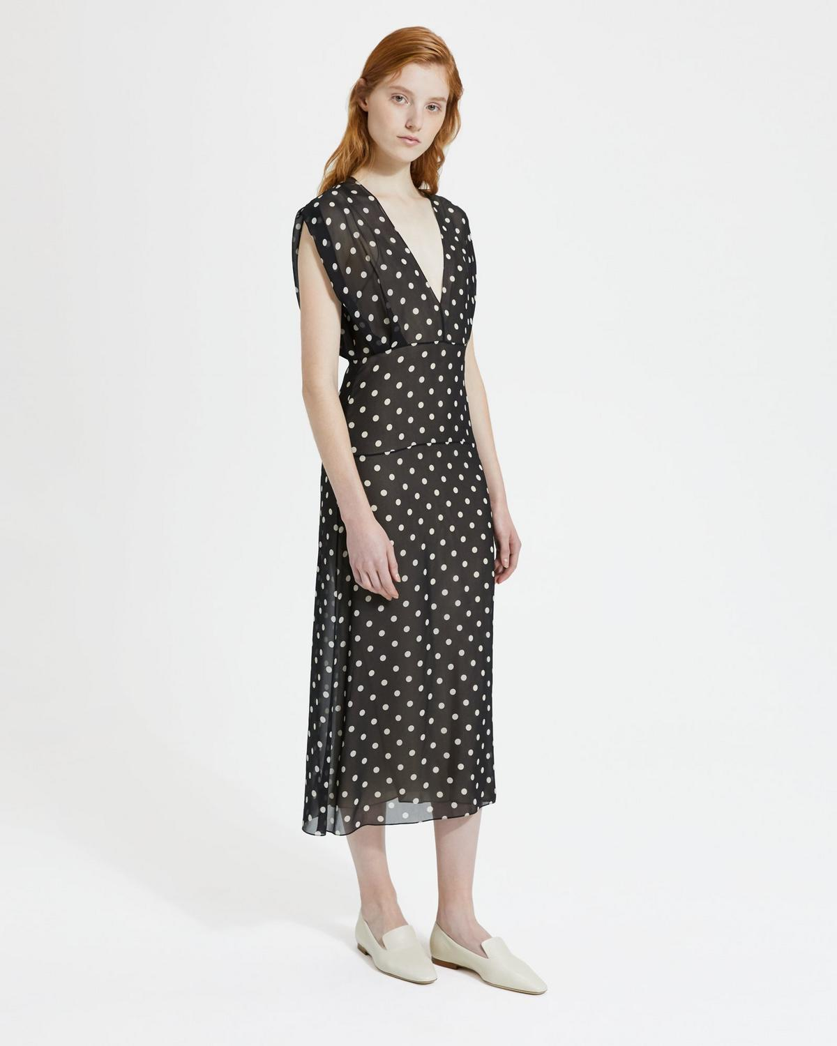 Polka-Dot Deep V Easy Midi Dress