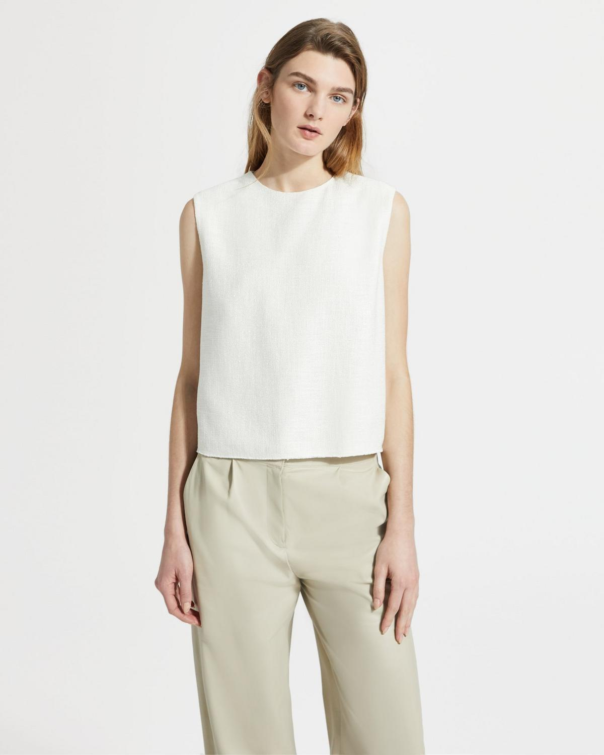 Tweed Cropped Sleeveless Shell