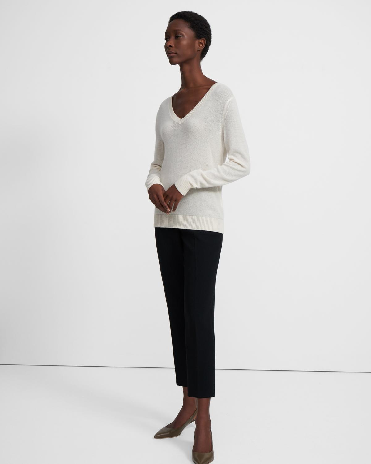 V-Neck Sweater in Feather Cashmere 0 - click to view larger image