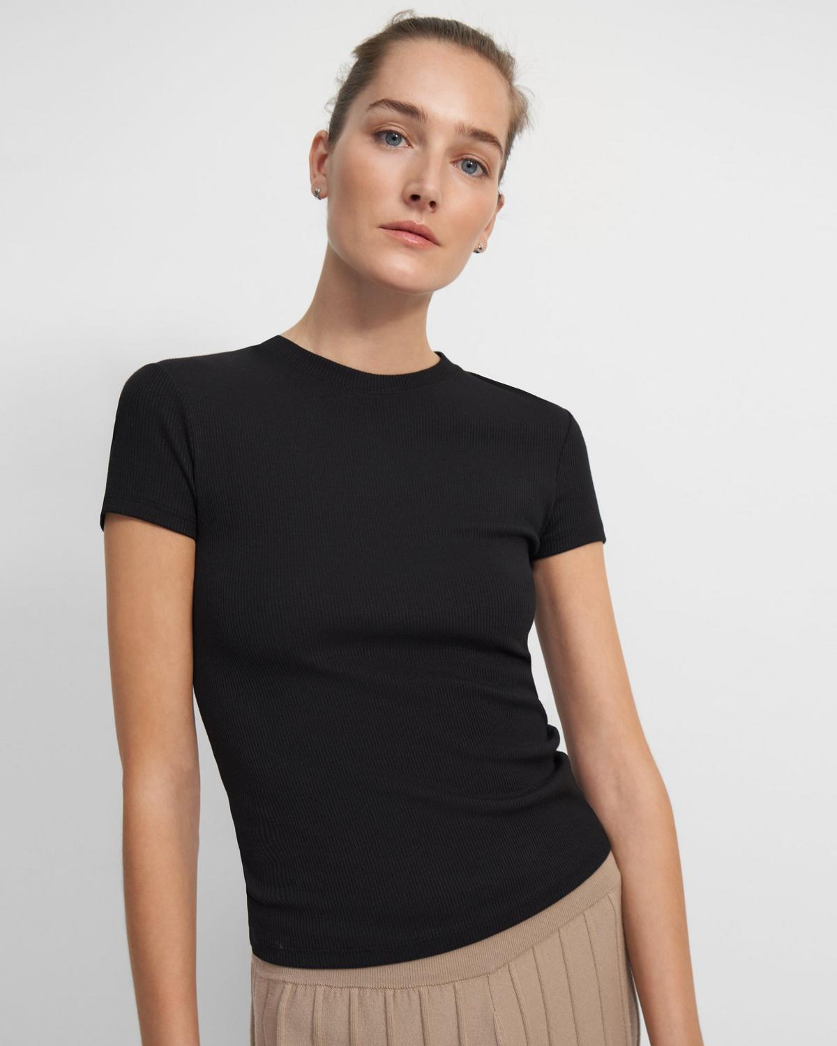Ribbed Cotton Tiny Tee