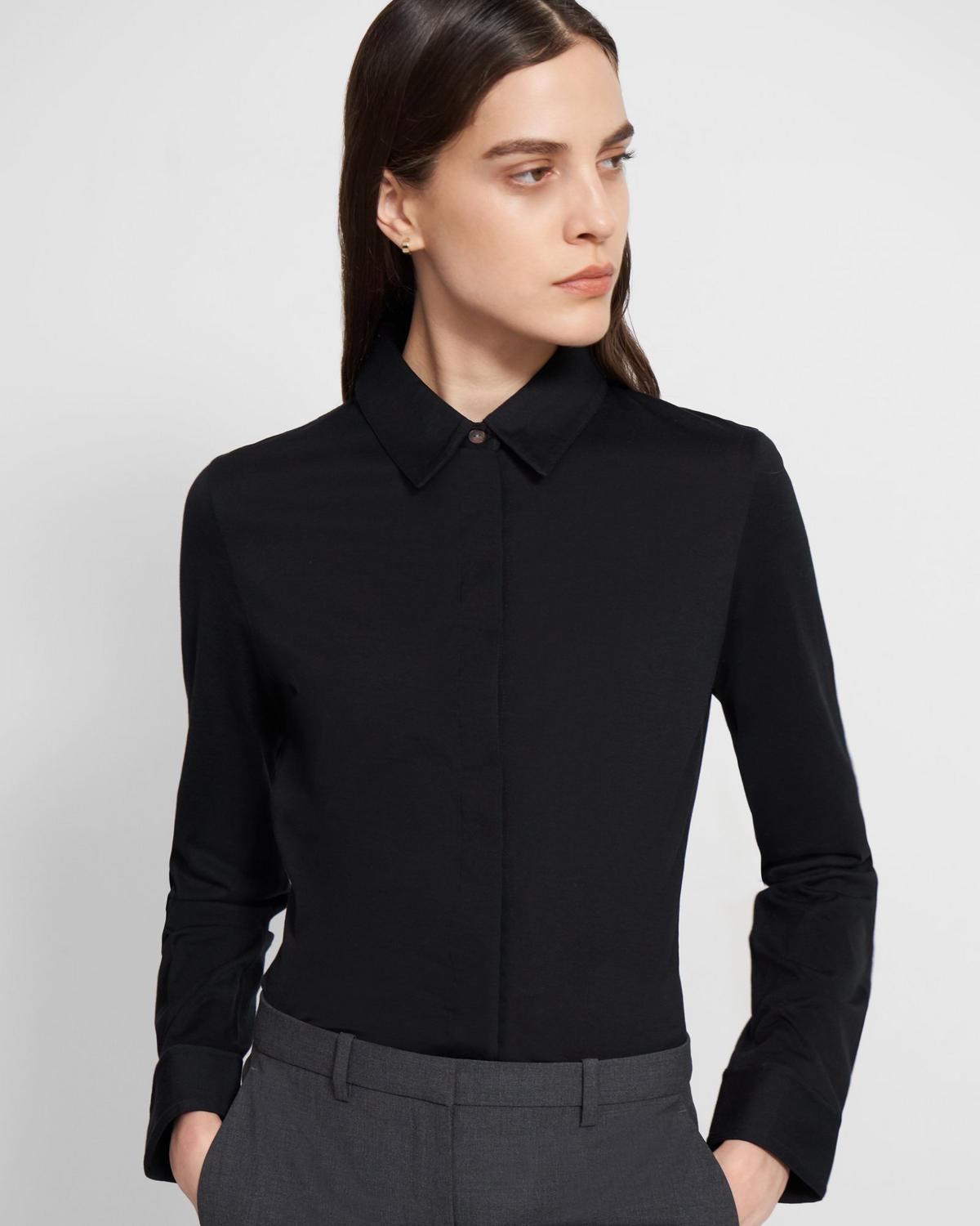 Fitted Shirt in Cotton Jersey